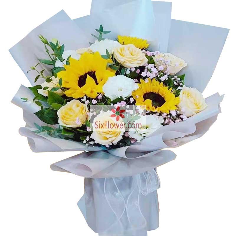 9朵香槟玫瑰,3朵向日葵,祝好运不离