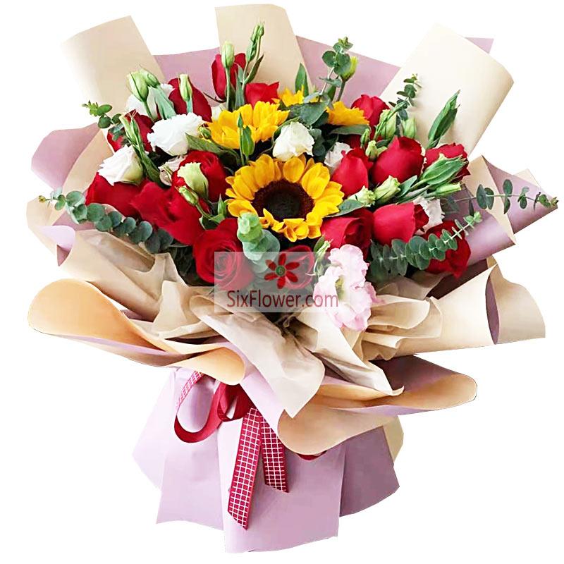 19朵红玫瑰,3朵向日葵,美好人生