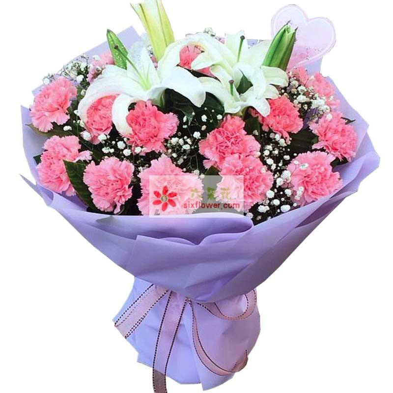 19朵粉色康乃馨百合,永远快乐终身美丽