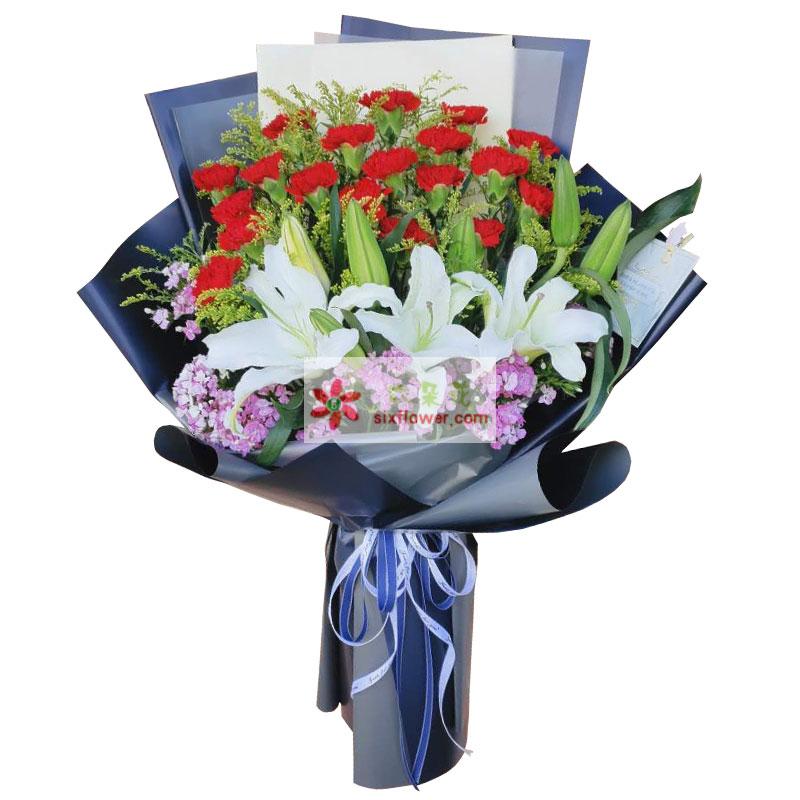 20朵红色康乃馨百合,永远爱您