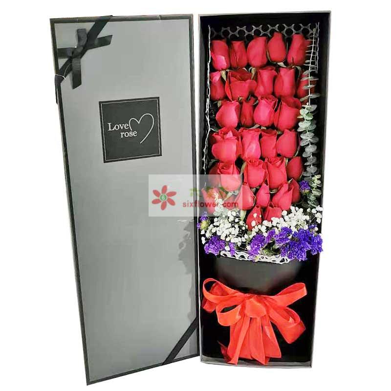 33朵红玫瑰礼盒,一笑倾城