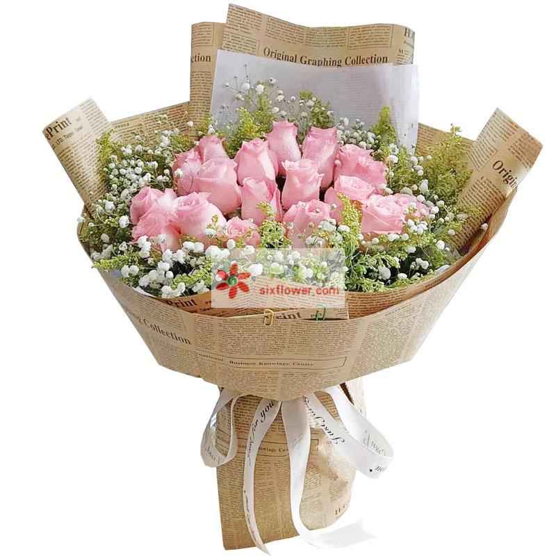21朵戴安娜粉玫瑰,你知道我真诚的爱你吗