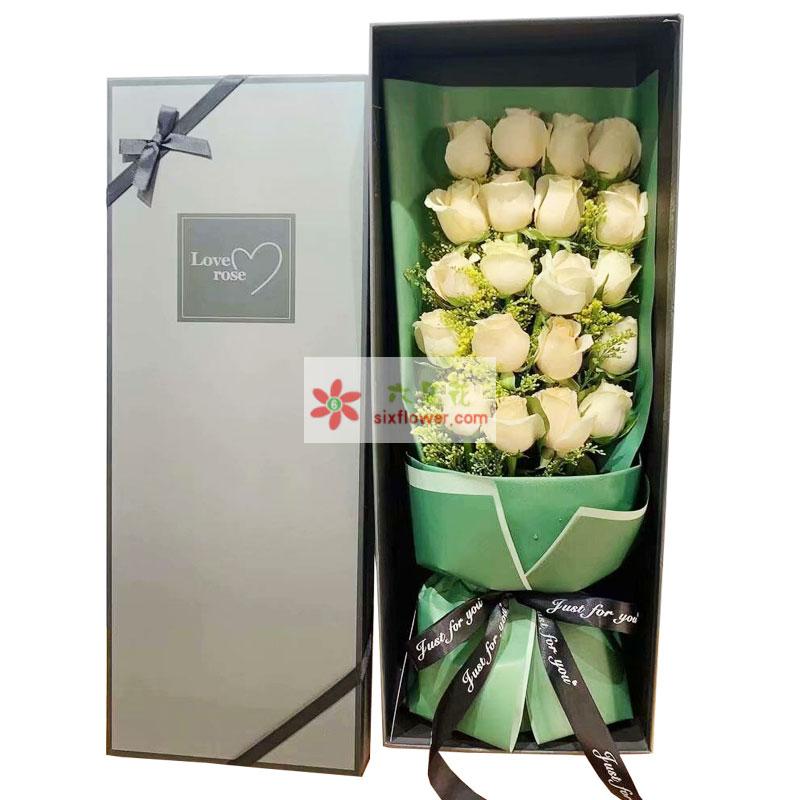 20朵香槟玫瑰礼盒,幸福永相依