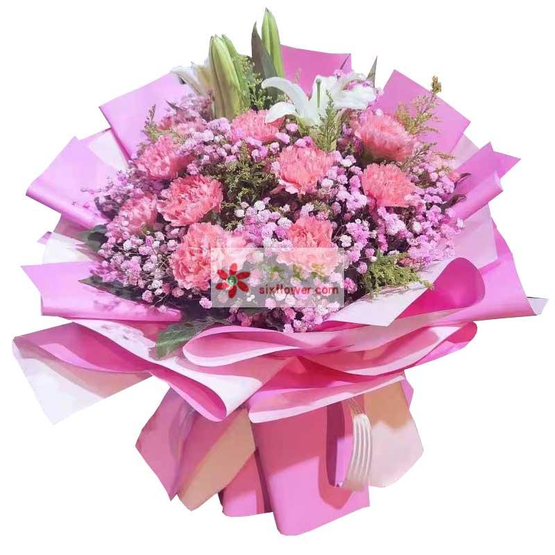 11朵粉色康乃馨百合,愿好运阳光陪在你身边
