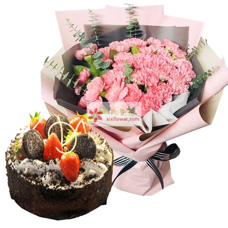 33朵粉色康乃馨+蛋糕,祝福好运来