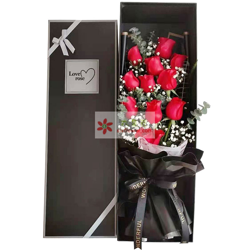 11朵红玫瑰礼盒,只要有你在一起