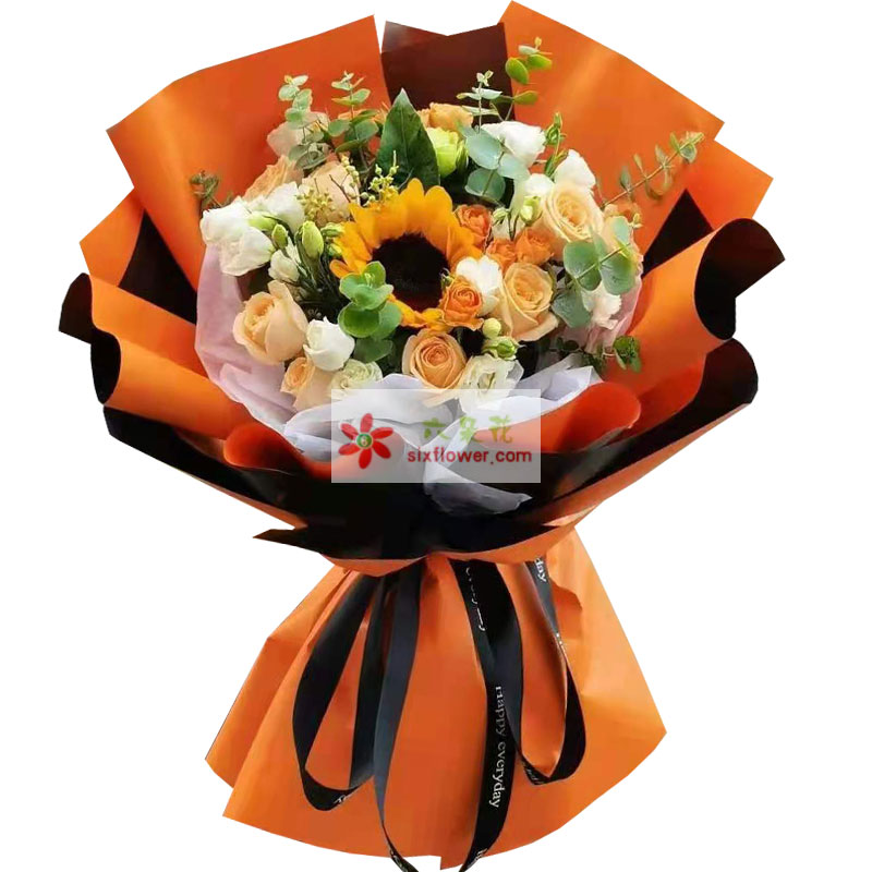 9朵香槟玫瑰向日葵桔梗,用青春酿造春秋