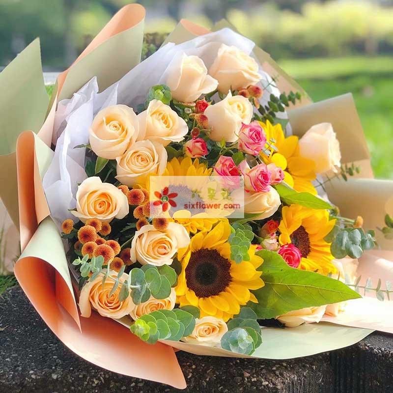 19朵香槟玫瑰向日葵,欢乐就是健康