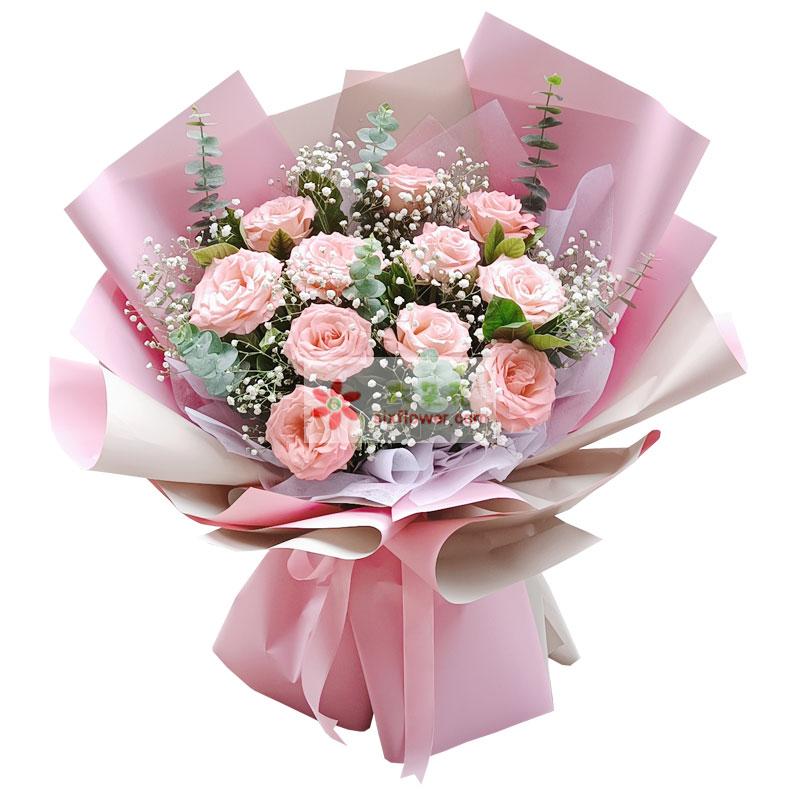 11朵戴安娜粉玫瑰,和你永远在一起
