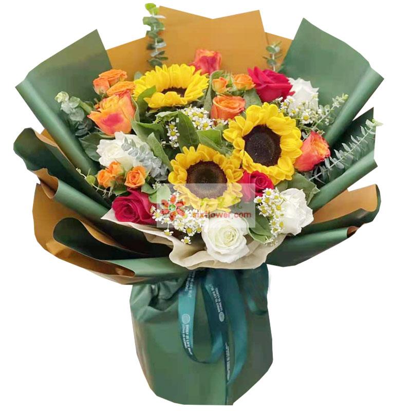 3朵向日葵,5朵白玫瑰,扬帆远航