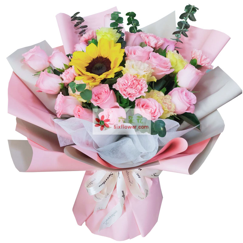 11朵戴安娜粉玫瑰向日葵康乃馨,特别的问候