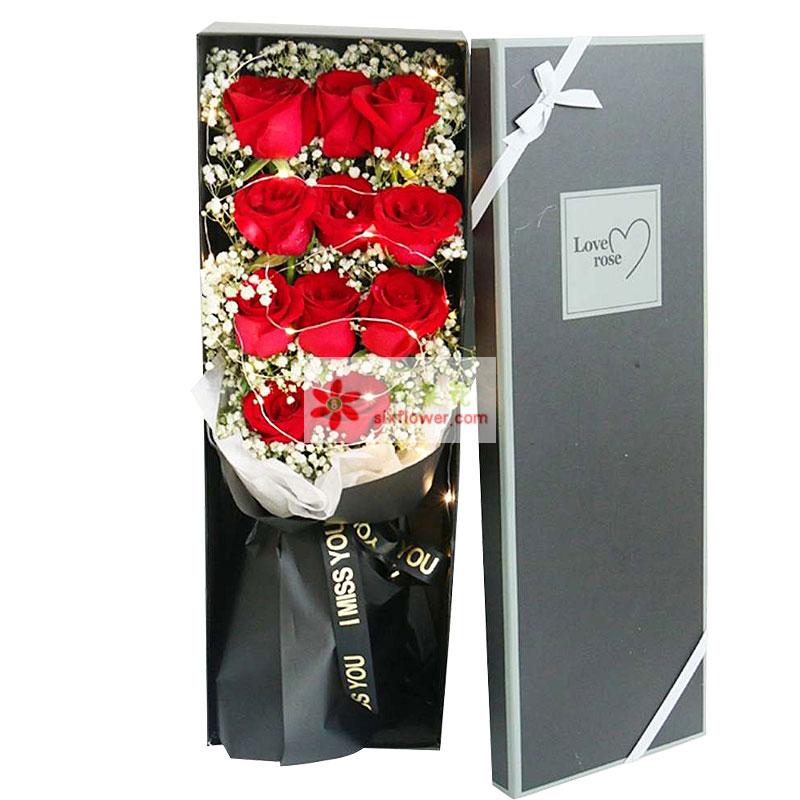11朵红玫瑰礼盒,心去付出
