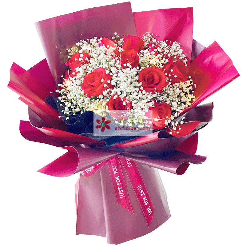 11朵红玫瑰满天星丰满,因你而幸福无边