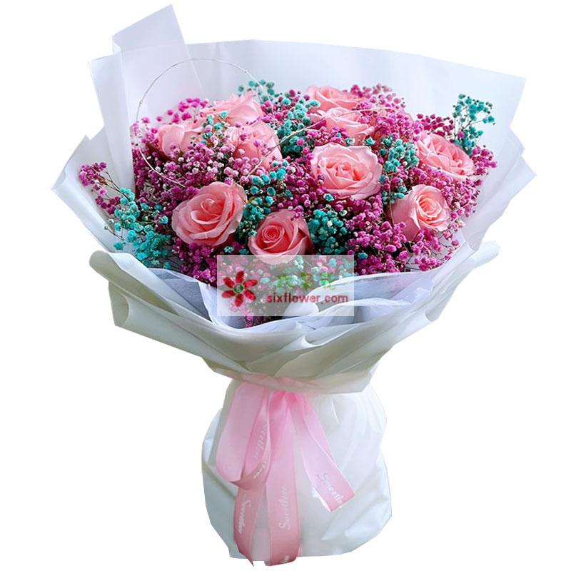 11朵戴安娜粉玫瑰,真挚长相伴