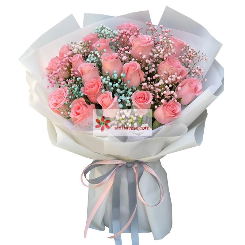 19朵戴安娜粉玫瑰,幸福永远