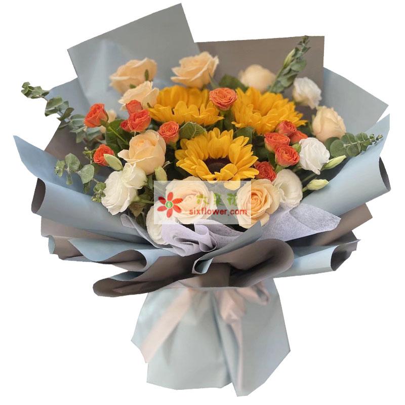 3朵向日葵,9朵香槟玫瑰,永远幸福