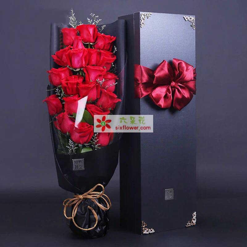 19枝红色玫瑰,情人草丰满,配叶