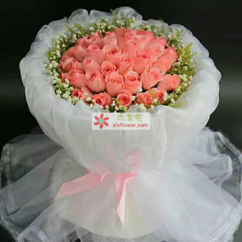 33枝戴安娜粉色玫瑰,周围满天星丰满