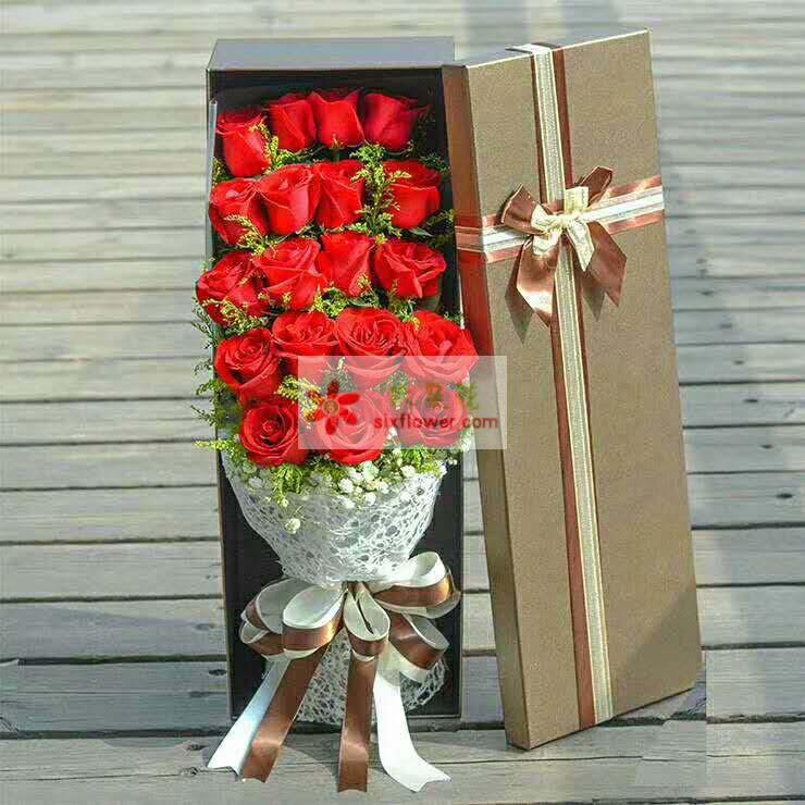 19枝红色玫瑰,黄英、满天星丰满;
