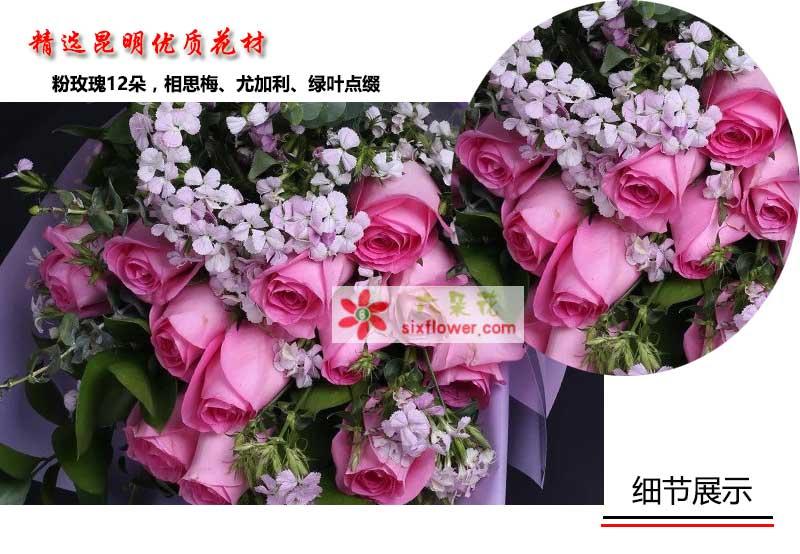 12朵紫玫瑰花语_苏醒玫瑰12支/忘不了你的微笑-六朵花
