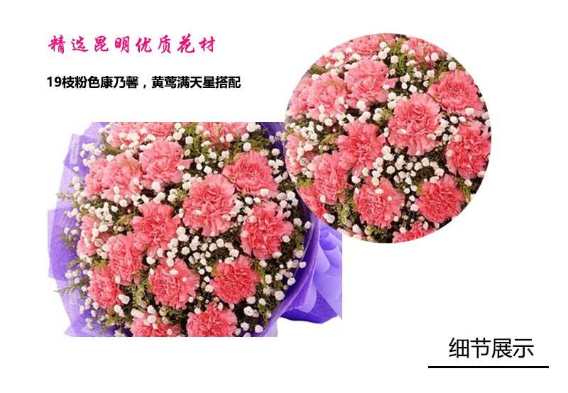 19枝粉色康乃馨,黄莺满天星搭配;