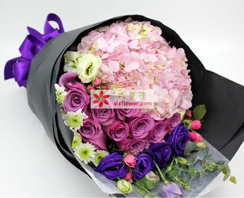 12朵紫玫瑰花语_11支紫玫瑰/感恩的心-六朵花