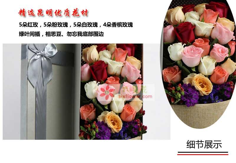 5朵红玫,5朵粉玫瑰,5朵白玫瑰,4朵香槟玫瑰,绿叶间插,相思豆、勿忘我底部围边;