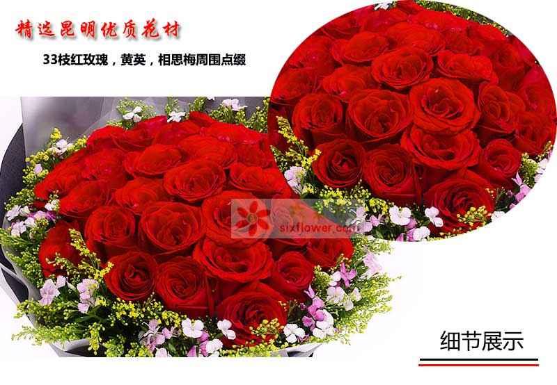 33枝红玫瑰,黄英,相思梅周围点缀;