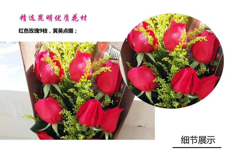 9枝红玫瑰,黄英点缀搭配