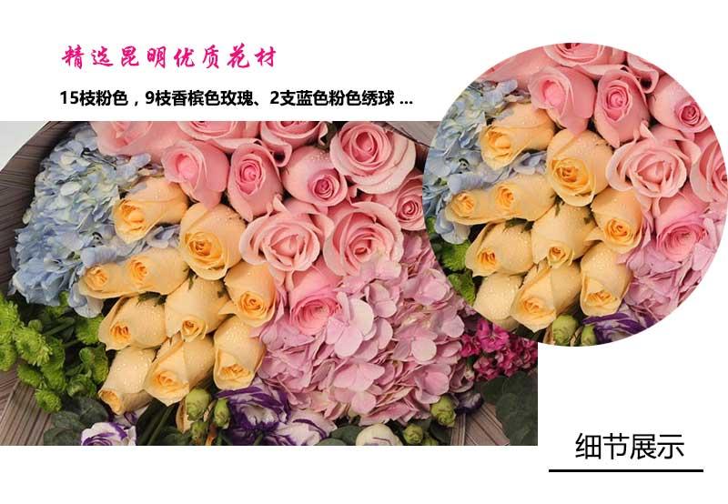 15枝粉色,9枝香槟色玫瑰、2支蓝色粉色绣球 雏菊 紫色桔梗 尤加利叶相思梅点缀;