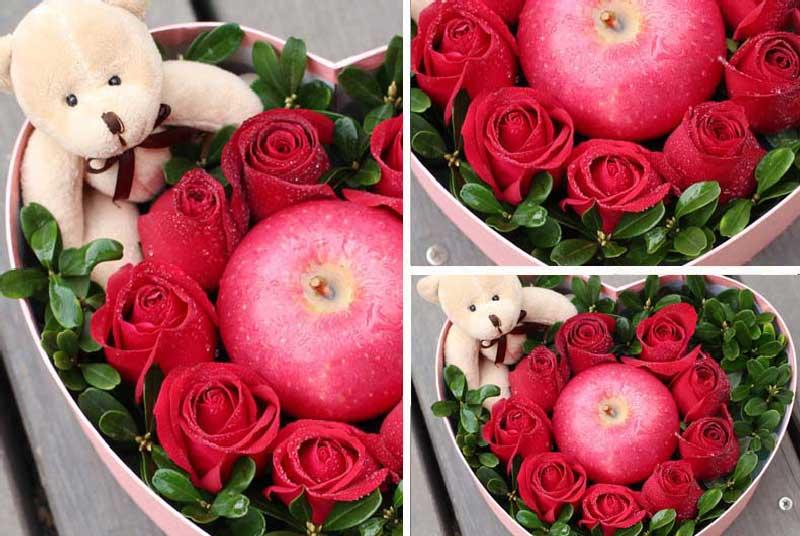 9枝红玫瑰,绿叶搭配。1个苹果1只小熊(以当地实物为准)。