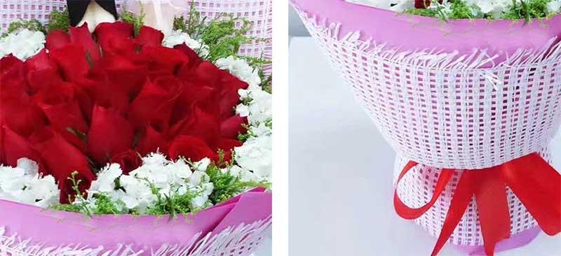 22枝红色玫瑰,周围白色相思玫瑰,黄英搭配;