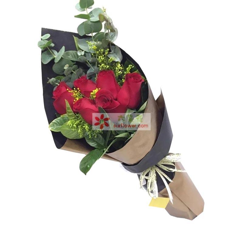 8枝上等红色玫瑰,黄英、橛子叶、尤加利搭配;