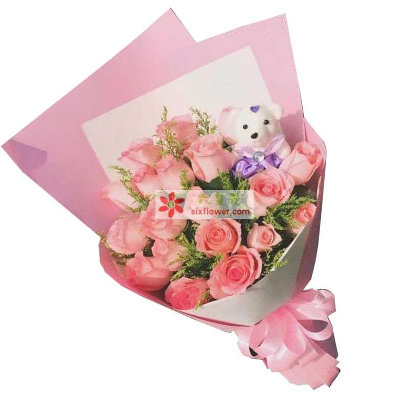 18枝粉色玫瑰,黄英丰满,小熊一个