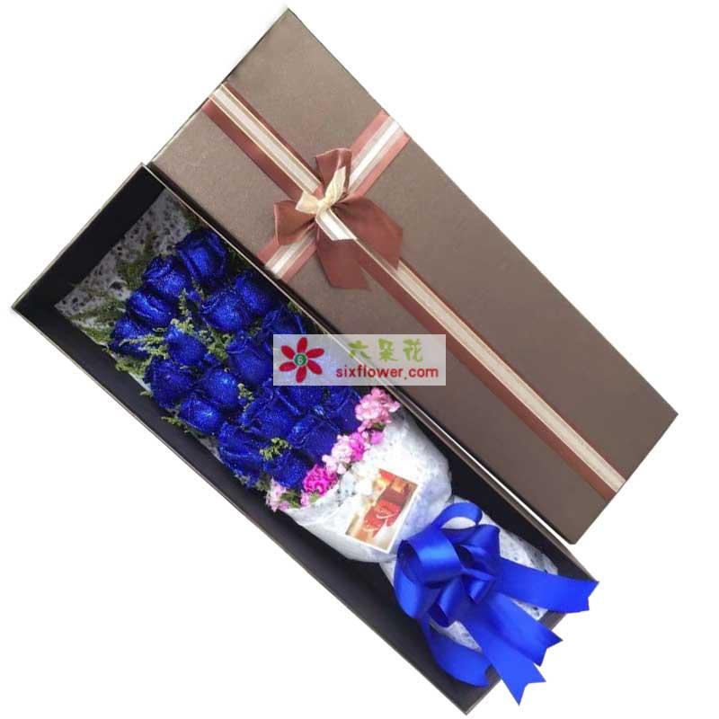 19枝蓝色玫瑰,黄英点缀