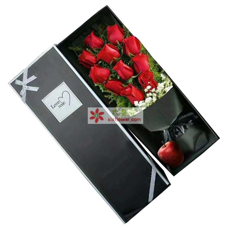11枝红色玫瑰+1个苹果,黄英、满天星搭配