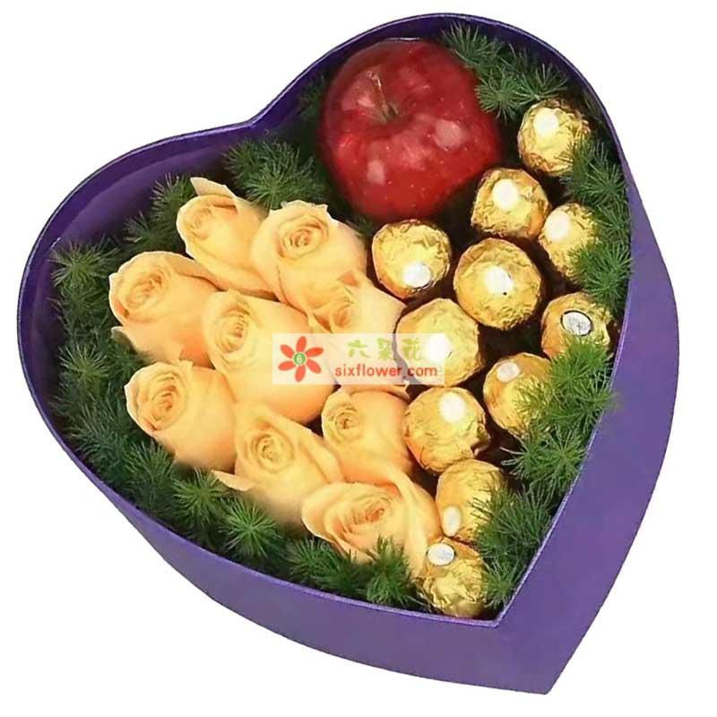 9枝香槟玫瑰,11颗巧克力,1个苹果,配草丰满
