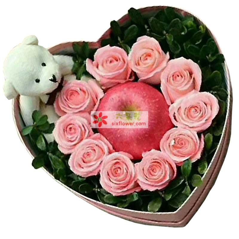 11枝粉色玫瑰+1个苹果+1个小熊,配叶搭配