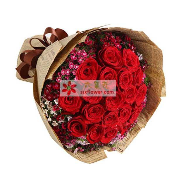 红玫瑰19枝,混色石竹梅围绕