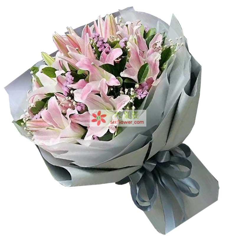 6枝粉色多头香水百合,橛子叶丰满,白色、粉色满天星点缀