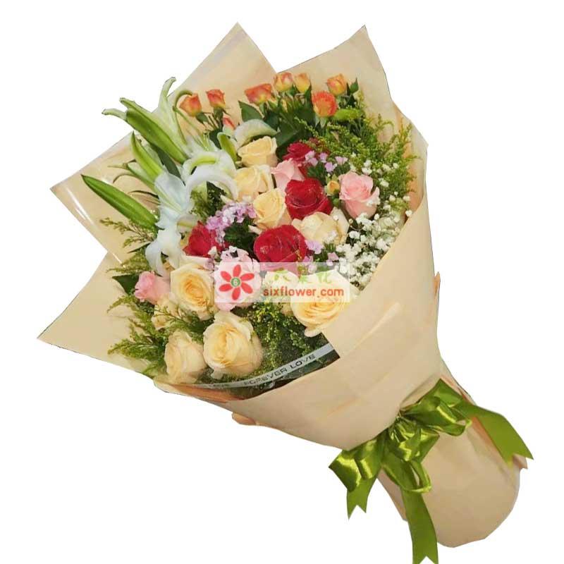 11枝香槟玫瑰,4枝粉色玫瑰,4枝红色玫瑰,2枝多头白色百合,桔色桔梗(或其他颜色),满天星、黄英丰满