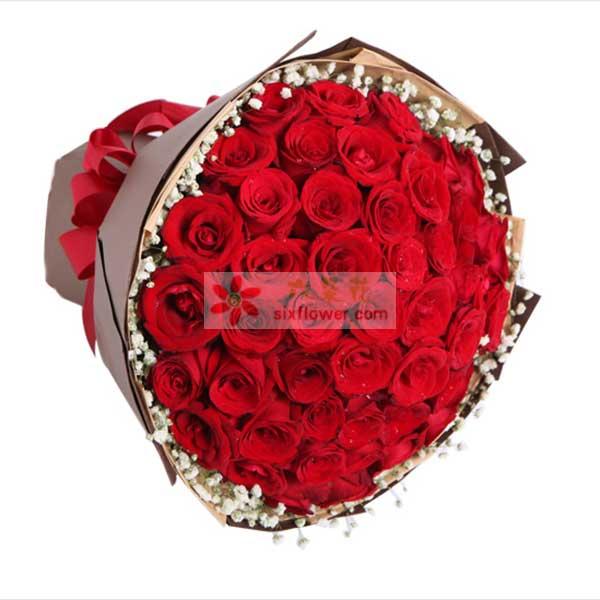 49枝红玫瑰,满天星周围点缀