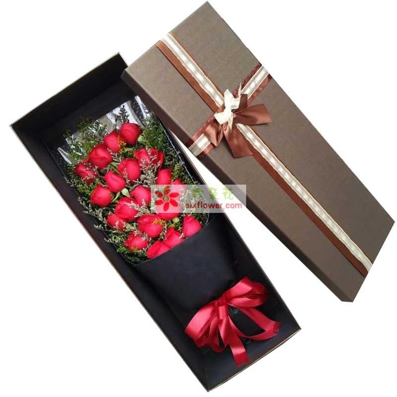 19枝红色玫瑰,情人草丰满
