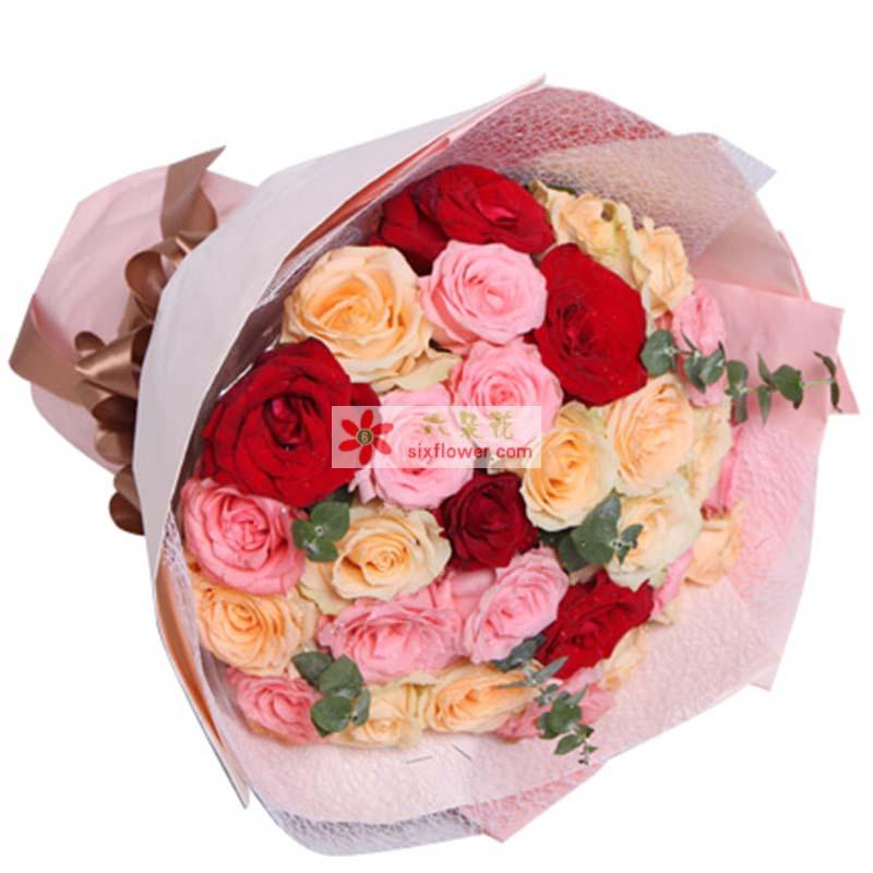 11枝戴安娜粉玫瑰,13枝香槟玫瑰,5枝红玫瑰,搭配适量绿叶