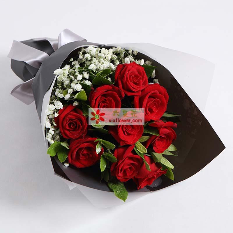 9枝红玫瑰,搭配栀子叶、满天星适量