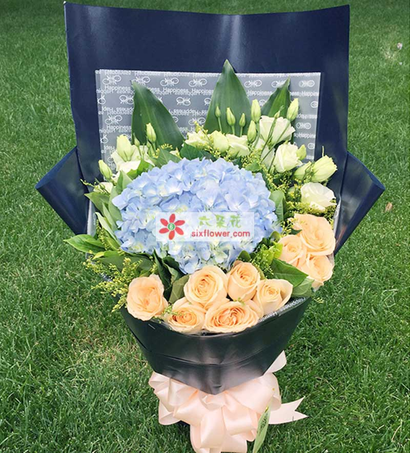 9枝香槟色玫瑰,一只蓝色绣球花,桔梗、巴西木叶、栀子叶、黄莺搭配;