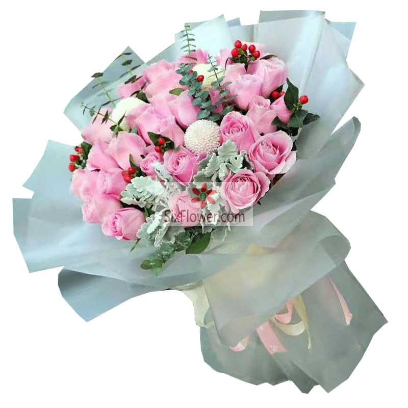 33朵戴安娜粉玫瑰,爱的人只能是你
