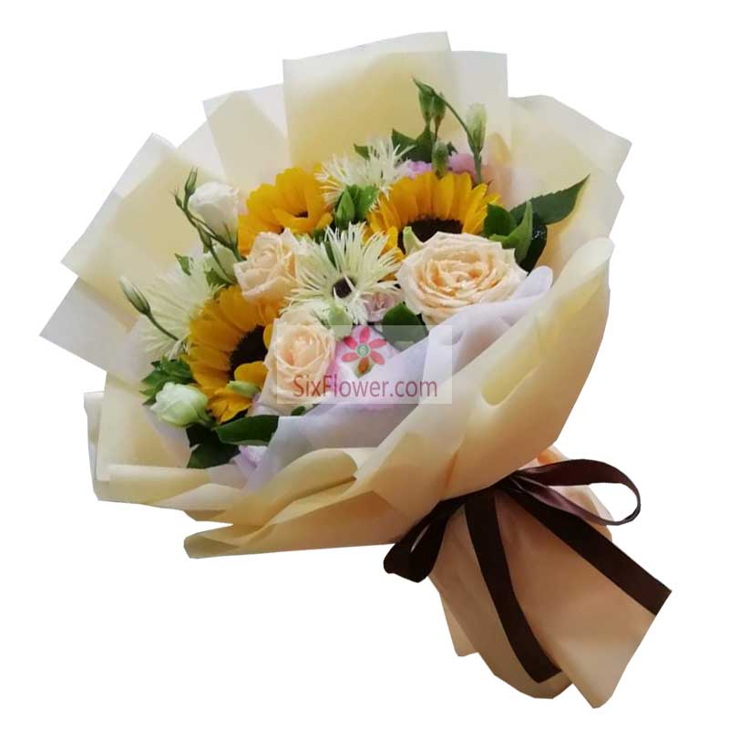 3朵向日葵,3朵香槟玫瑰,前程似锦
