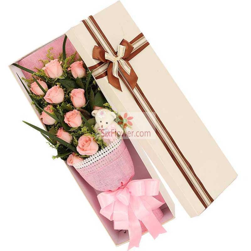 11朵戴安娜粉玫瑰,礼盒装,真诚真心的爱