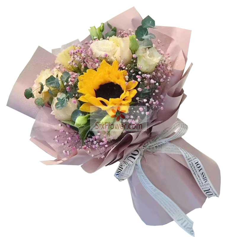 1朵向日葵,6朵香槟玫瑰,为梦想向前冲